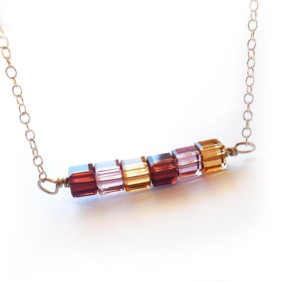 Julieta Necklace with Purple  Swarovski Cubes Beads (3)