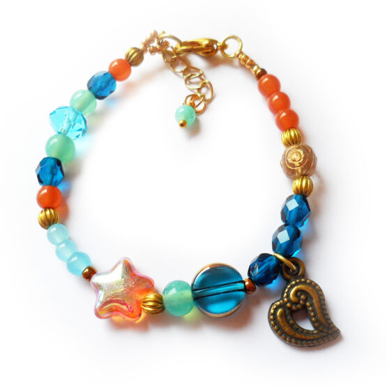 Lanikai Bracelet with blue crystal beads and topaz starfish (1)