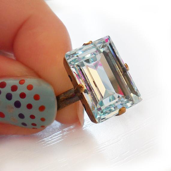 7623c73ff Light Blue Swarovski Ring – Emerald Cut Ring – Shop