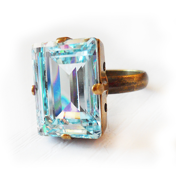 7623c73ff Light Blue Swarovski Ring – Emerald Cut Ring – Shop