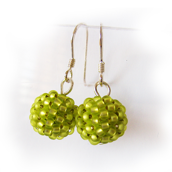 Lime Green Beads Earrings - Berry Beaded Dangle Earrings