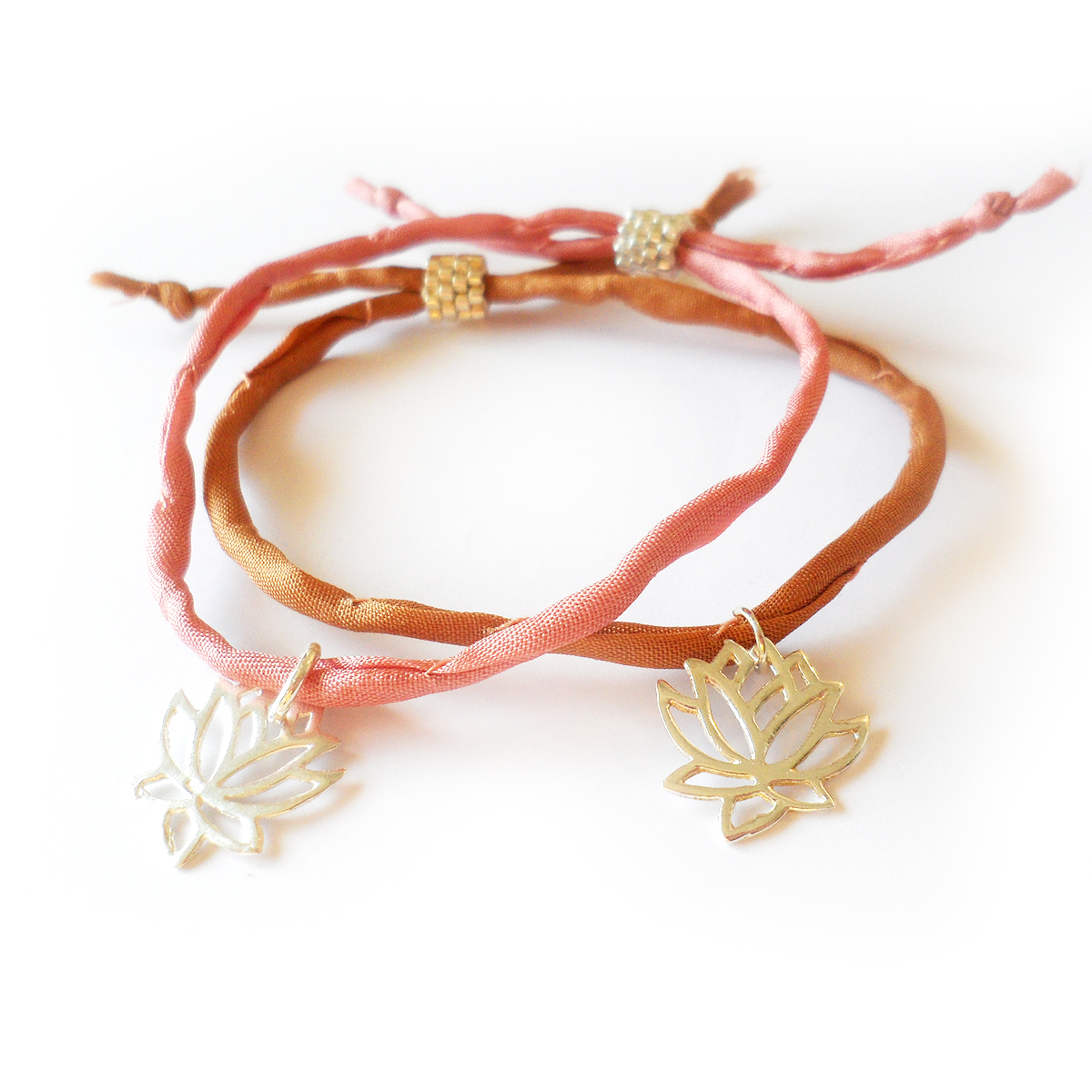 Lotus Flower Bracelet With Sterling Silver Charm And Silk Cord