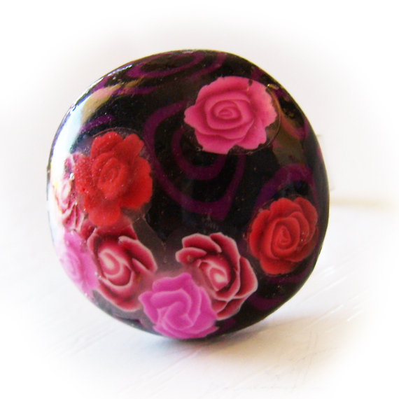 Love Roses Flower Adjustable Ring in Pink Red and Black (2)