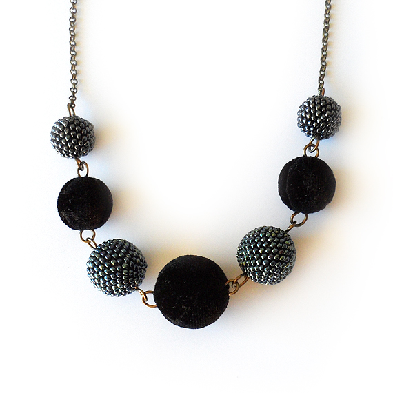 Midnight Necklace with Black Velvet and Beaded Beads  (4)