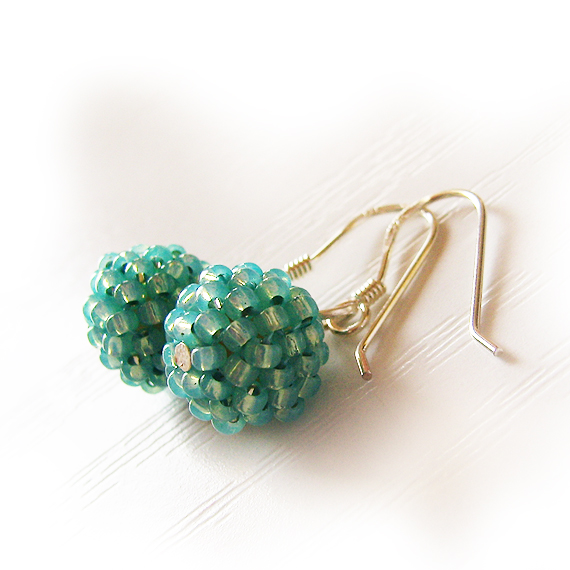 Mint Blue Beads Earrings - Sterling Silver Hoop Earrings (3)