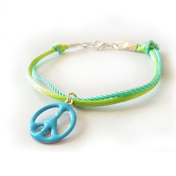 Mint Blue and Green Peace Bracelet