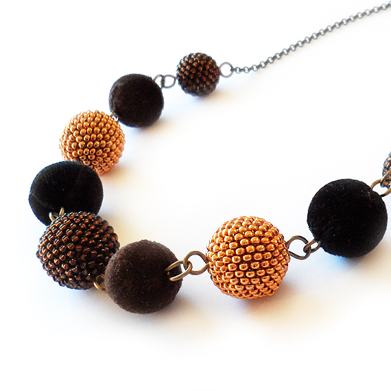New Years Eve Necklace with Black Gold Velvet and Beaded Beads (3)