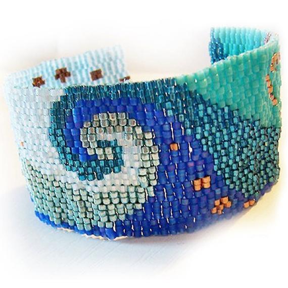 Ocean Swirl Gl Beads Bracelet Peyote