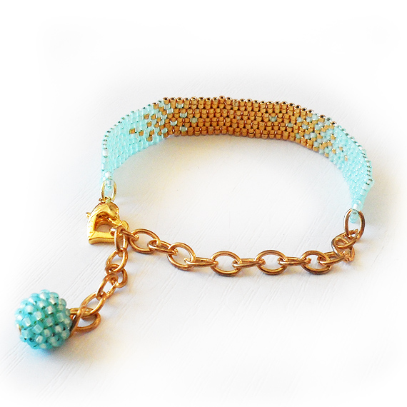 Ombre Bracelet with Blue and Gold Glass Beads - Beadwork Bracelet  (3)