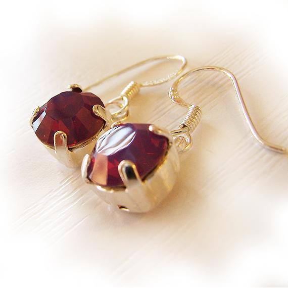 Opal Purple Swarovski Rhinestone Dangle Earrings (3)