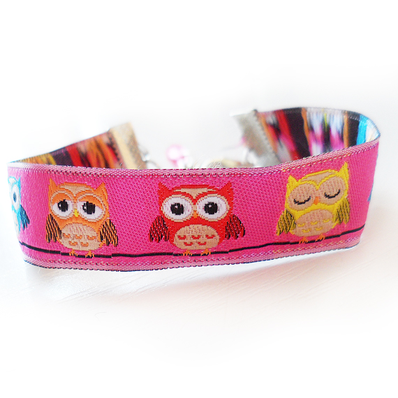 Owl Ribbon Bracelet with pink or blue colors (3)