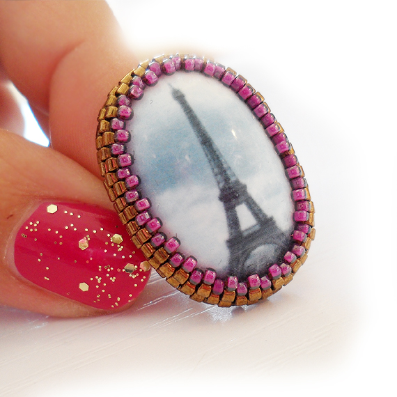 Paris Lovers Adjustable Ring - Cameo Tour Eiffel Ring  (4)