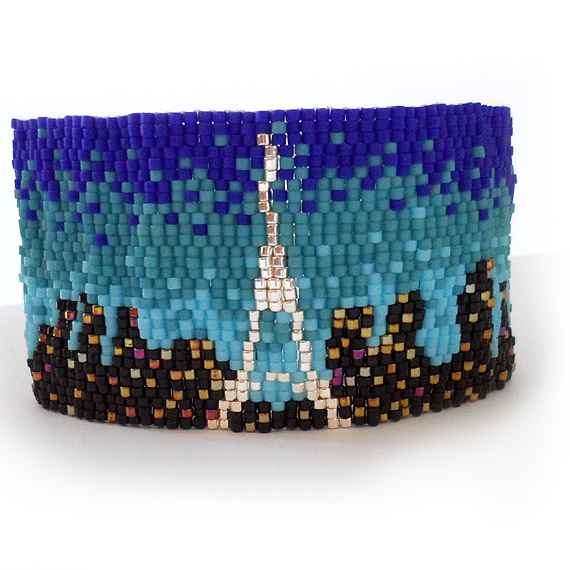 Paris Lovers Bracelet with Blue and Black Beads - Paris City Skyline Bracelet  (3)