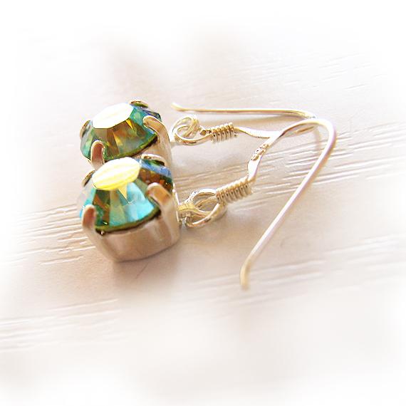 Peacock Green Swarovski Rhinestone Earrings (4)