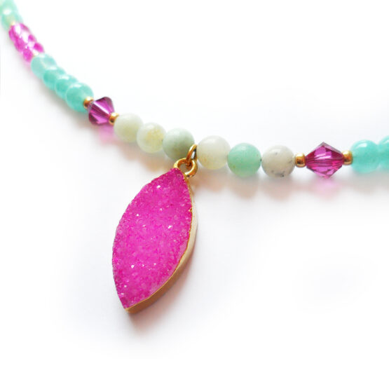 Pink Druzy Necklace with mint and pink gemstones and swarovski beads (4)