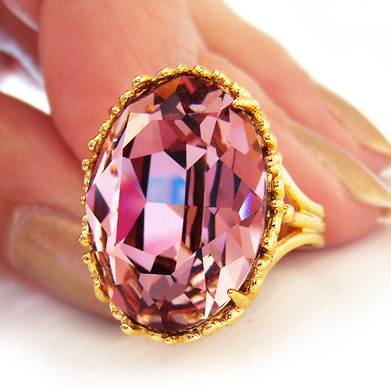 Pink Gold Swarovski Ring (2)