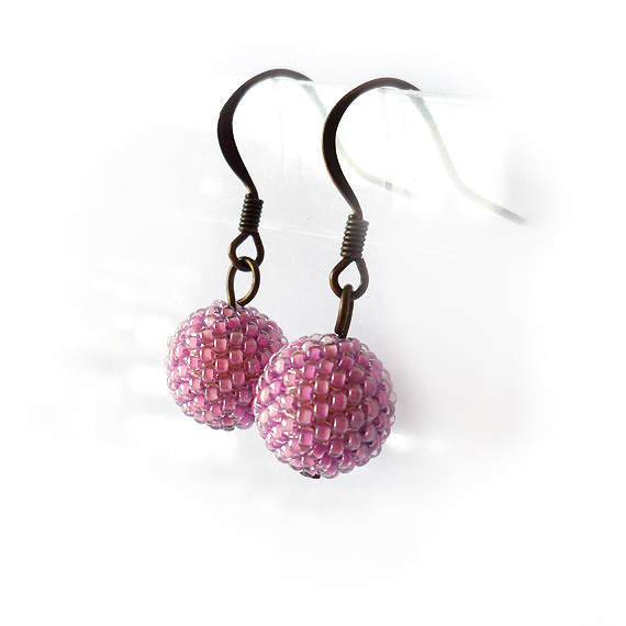 Pink Lilac Beads Earrings (4)