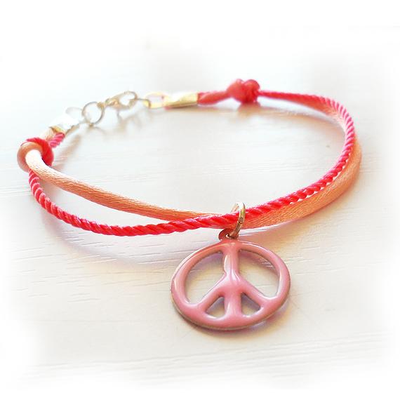 Pink Peace Charm Bracelet (2)