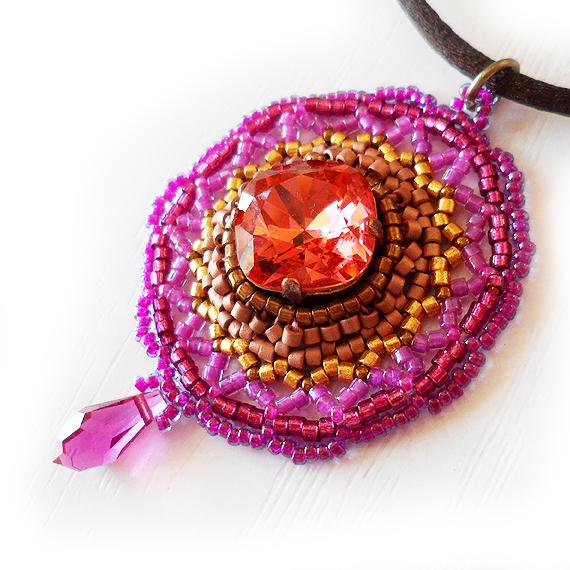 Pink Swarovski Rhinestone Necklace - Victorian Necklace (4)