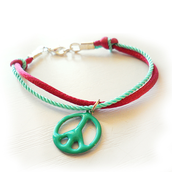 Pink and Mint Peace Bracelet - Friendship Bracelet (3)