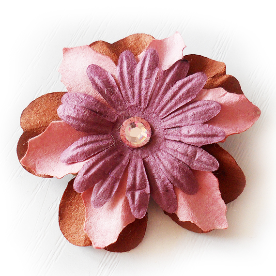 Pink and Purple Paper Flower Clip with Rhinestone - Hair Clip (3)