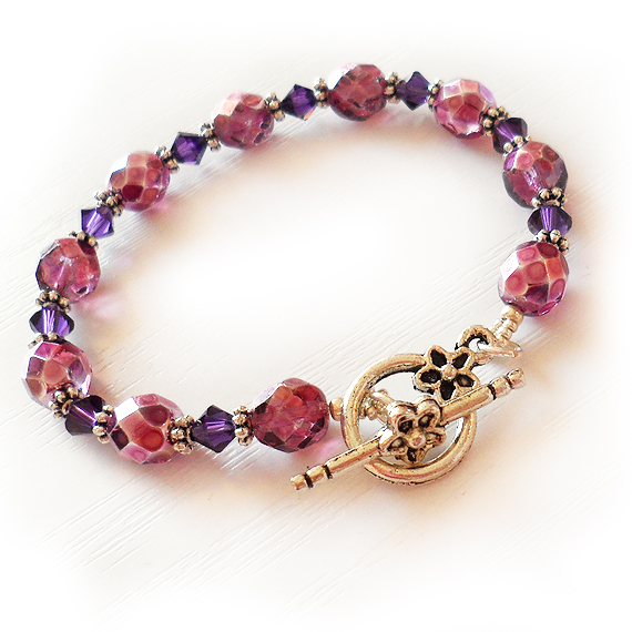 Pink and Purple Swarovski Glass Beads Bracelet (2)