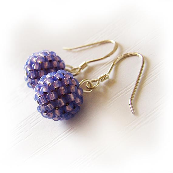 Purple Beads Earrings - Sterling Silver Hoop Earrings  (2)
