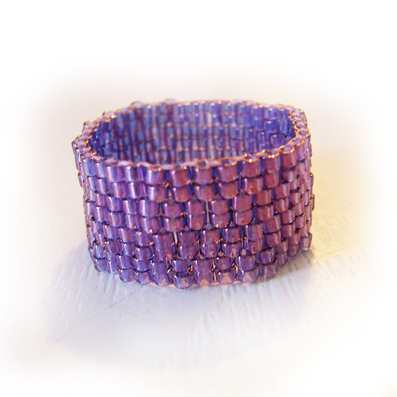 Purple Lilac Glass Beads Ring - Purple Wide Ring