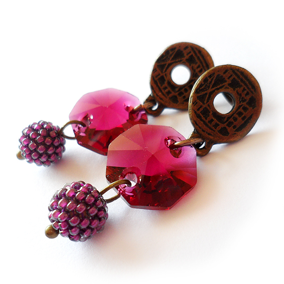 Purple Ruby Swarovski Dangle Earrings with Bronze Studs
