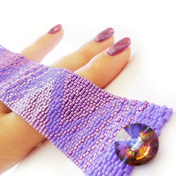 Purple Triangles Bracelet - Geometric Design Cuff Bracelet (3)