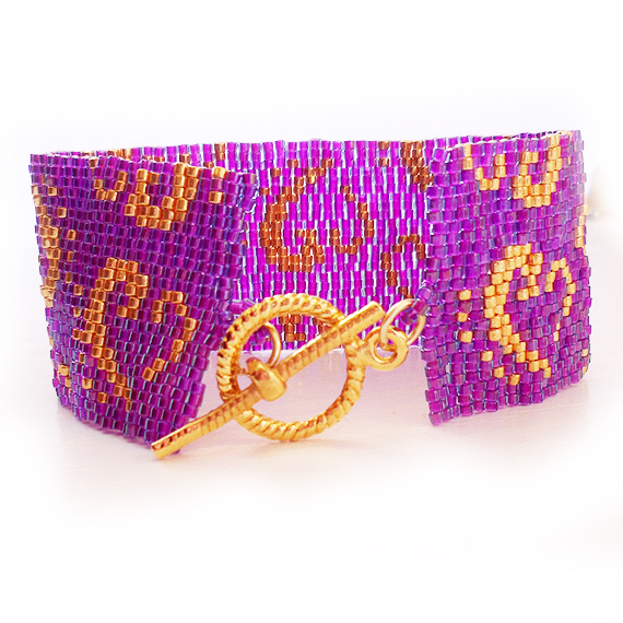 Purple and Gold Glass Beads Bracelet - Dicope Heart Logo Cuff Bracelet  (4)