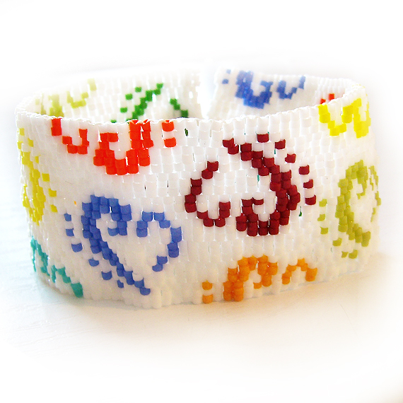 Rainbow Logo Glass Beads Bracelet - Beadwork Bracelet
