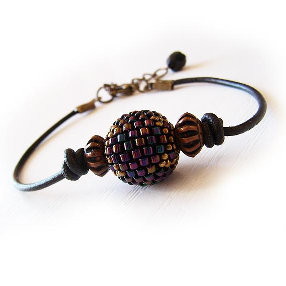 Round Black Glass Bead Leather Bracelet - Beadwork Bracelet