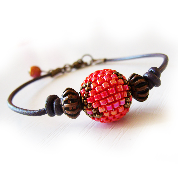 Round Red Glass Bead Leather Bracelet - Friendship Bracelet (3)