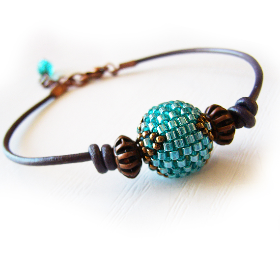 Round Teal Glass Bead Leather Bracelet - Blue Beadwork Bracelet