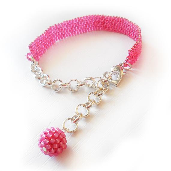 Shiny Pink Beads Bracelet  (3)