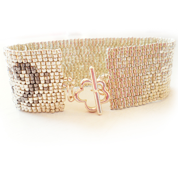 Silver Glass Beads Bracelet