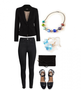 Some Color for your Boring Black Suit Work Outfit