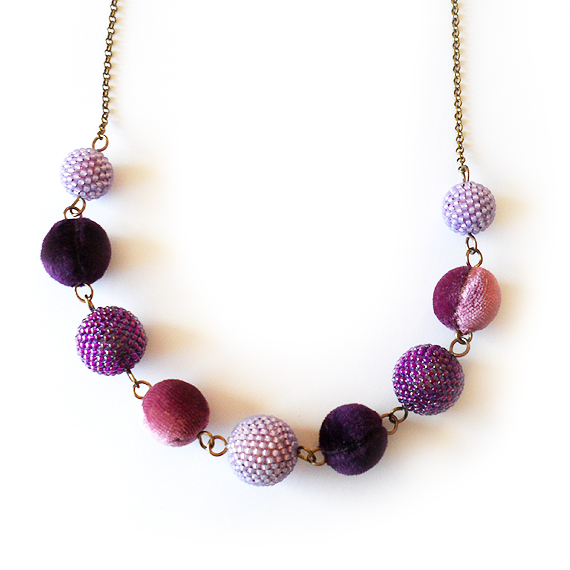 Spring Necklace with Purple Velvet and Beaded Beads (3)