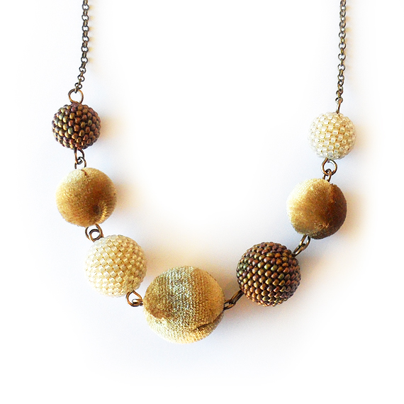 Sunrise Necklace with Golden Velvet and Beaded Beads