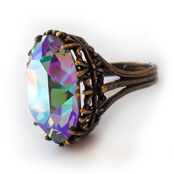 Swarovski Adjustable Oval Ring in Crystal Paradise Grey Purple Rhinestone