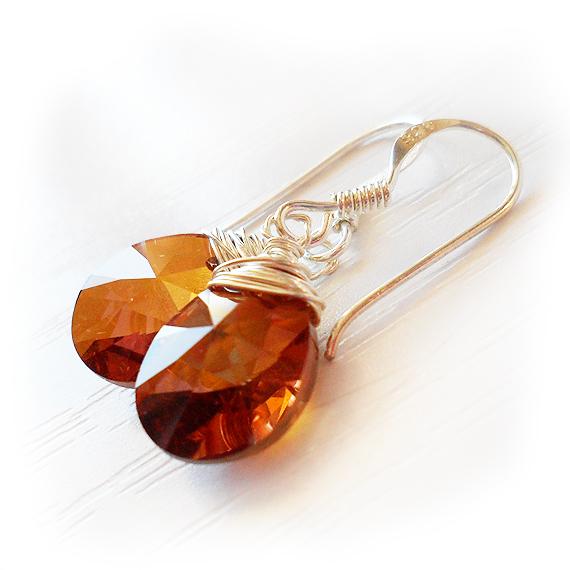 Swarovski Drop Dangle Earrings in Topaz Brown (2)