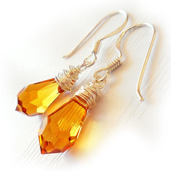 Swarovski Drop Earrings in Topaz with Sterling Silver Hoops