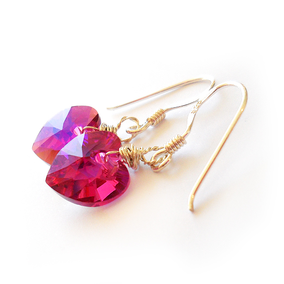 Swarovski Fuchsia Heart Earrings and Sterling Silver Hoops