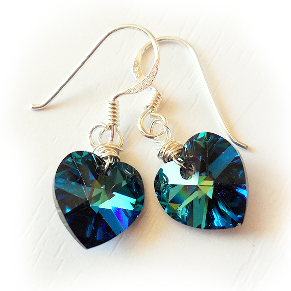 Swarovski Heart Earrings in Blue with Sterling Silver Hoops (4)