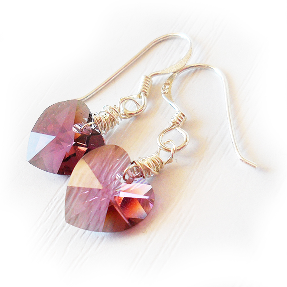Swarovski Heart Earrings in Pink with Sterling Silver Hoops