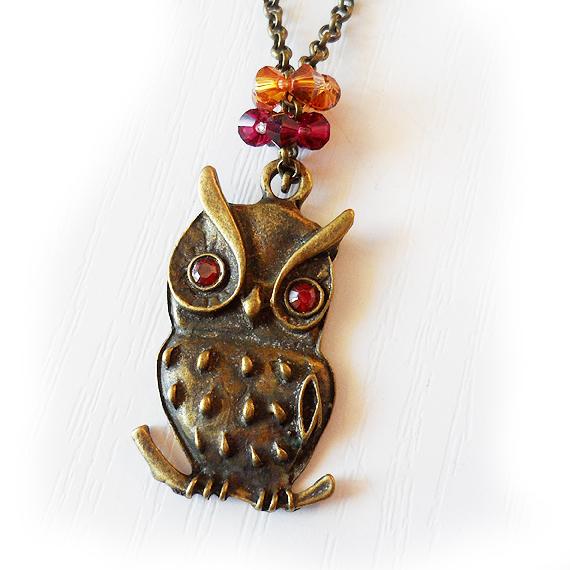 Swarovski Owl Pendant in red rhinestones