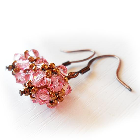 Swarovski Pink Bead Earrings