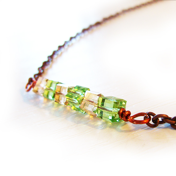 Swarovski Sparkly Cubes Necklace - Green and Gold Beads Necklace (3)