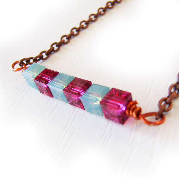 Swarovski Sparkly Cubes Necklace in Fuchsia Pink and Opal Blue  (3)